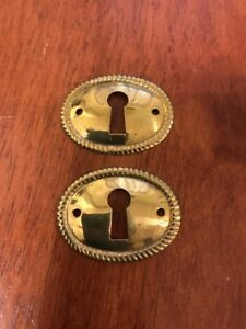 Pair Of Vintage Oval Stamped Brass Decorative Escutcheon Key Hole Cover