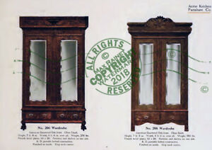 Acme Kitchen Furniture Co 1911 Catalogue Oak Wood Cabinets Amoire Cases Samples