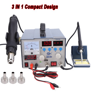 863d 3in1 Soldering Rework Station Led Solder Iron Hot Air Gun Dc Power Supply