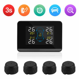 Car Tire Pressure Monitoring System Wireless Lcd Display With 4 External Sensor