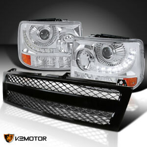 Chevy 99 02 Silverado 1pc Style Projector Headlights W Led Mesh Grille Black