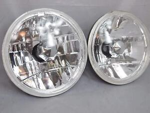 Universal 7 Diamond Cut Round Beam Crystal Head Lights Lamps Kit Chrome