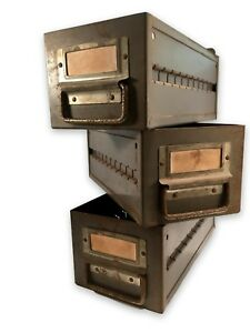 Lot Of 3 Vintage Industrial Factory Metal Storage Drawer Bin Heavy Duty Decor