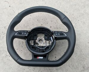 Audi A3 S line Flat Bottom Steering Wheel Perforated Leather White Stitching