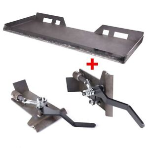 1 4 Skid Steer Quick Tach Attachment Mount Plate W conversion Adapter Latch Box