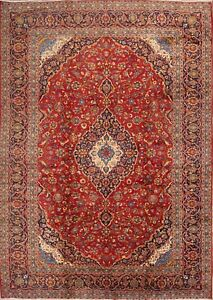 Vintage Large Traditional Floral Red 10x14 Kashan Persian Oriental Area Rug Wool