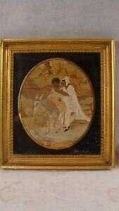 Antique 18c Folk Art Pictorial Needlework Figures Landscape Gilt Frame