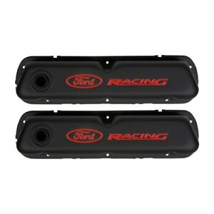 Valve Covers 289 302 351w Black Crinkle Ford Racing Logo