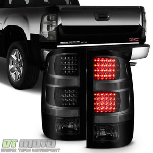 Black Smoke 2007 2013 Gmc Sierra 1500 2500hd 3500hd Led Tail Lights Brake Lamps
