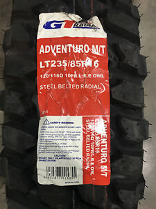 4 New Lt 235 85 16 Lre 10 Ply Gt Radial Adventuro M T Mud Tires