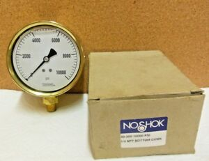 Noshok 40 300 10000 psi 4 Brass Liquid Pressure Gauge 10000 Psi