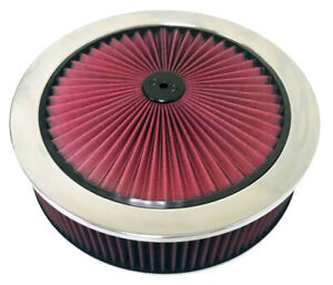 14 Chrome Red High Flow Thru Washable Air Cleaner Recessed Base Sbc Bbc Muscle