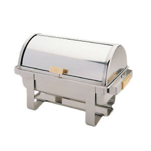 Thunder Group 8 Qt Stainless Steel Roll Top Chafer W Gold Accent Handles
