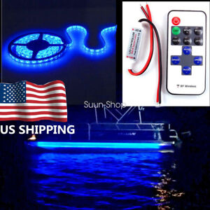 Wireless 16 4ft Blue Boat Smd 300 Led Strip Light Flexible Ip67 Waterproof 12v
