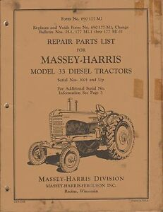 Massey harris Vintage 33 Diesel Tractor Parts Manual 690177m2 original
