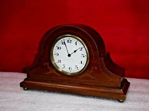 Antique French 8 Day Tambour Clock Desk Boudoir Mantle With Inlay Working