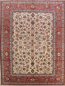 Antique Vegetable Dye Floral Ivory 10x14 Isfahan Persian Oriental Area Rug Wool