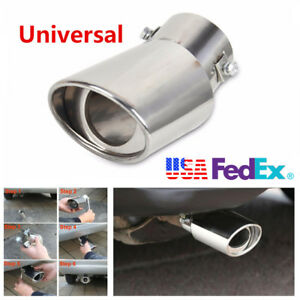 Car Race Stainless Steel Chrome Round Bend Exhaust Tail Muffler Tip Pipe Cover