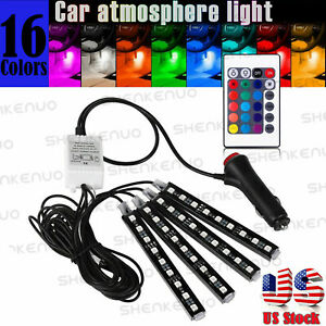 Rgb Led Glow Car Interior Lamp Under Dash Foot Well Seats Inside Led Lights Kit