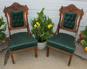 Pair Victorian Burl Walnut Carved Wood Tufted Green Velvet Parlor Side Chairs