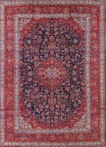 Vintage Traditional Floral Navy Blue Red 10x14 Kashan Persian Oriental Area Rug