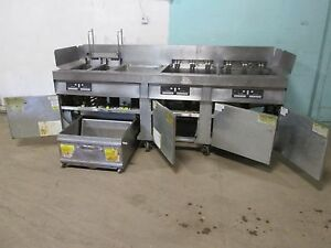 frymaster Commercial Hd 4 Banks Electric Fryers W auto Lift Filtration Unit