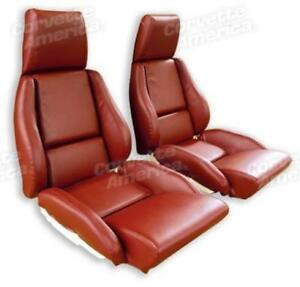 84 85 Corvette C4 Mounted Seat Upholstery Covers Red Leather With Foam Set New