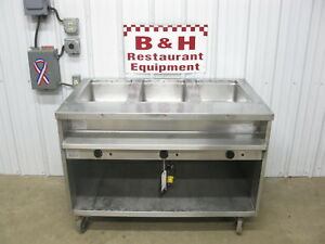Randell 3 Well Three Pan Steam Table Stainless Steel Cabinet Hot Food Bar Warmer