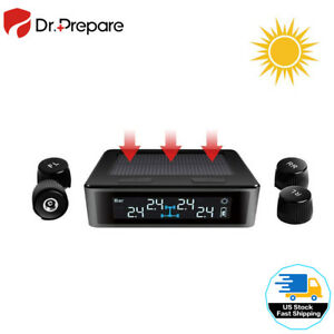 Solar Wireless Tire Pressure Monitoring System With 4pcs External Sensors Lcd