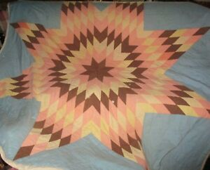 Vtg Lone Star Of Texas Antique Farmhouse Quilt Cutter Or Use 80x78 Great Color