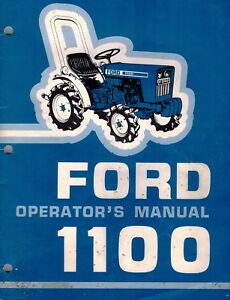 Ford 1100 Compact Utility Tractors Operator s Manual