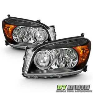 For 2006 2007 2008 Toyota Rav4 Headlights Black Headlamps Replacement Left Right