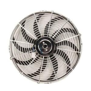 Speedway Chrome 14 Inch Curved Blade Electric Radiator Fan Reversible