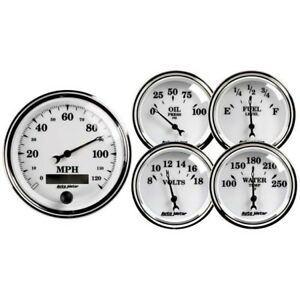 Auto Meter 1200 Old Tyme White Ii 5 Piece Gauge Set Electric