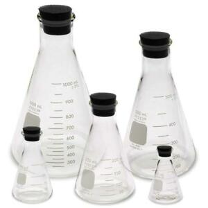 Corning Pyrex 4980 pack Erlenmeyer Flask Set W Stoppers 50 125 250 500 1000ml