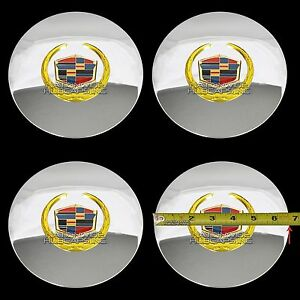 4 Eldorado Deville Dts Chrome Gold Wheel Center Hub Caps 5 Lug Rim Cover Hubs Rg