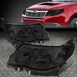 For 09 13 Subaru Forester Smoked Housing Clear Corner Headlight Replacement Lamp