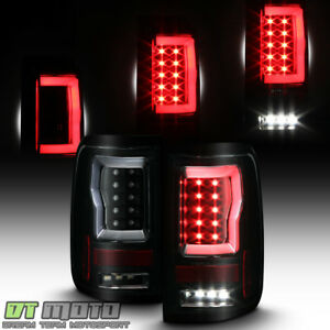 Black Smoke 2004 2008 Ford F150 Lobo Full Led Light Tube Tail Lights Brake Lamps