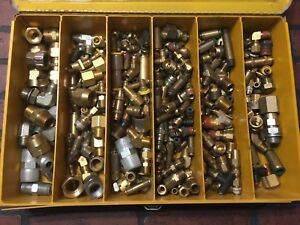 Air Brakes Brass Fitting Lot Kar Products Box 335 Pieces Over 26 Lbs Of Fittings