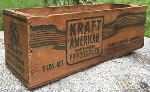 Primitive Vintage Kraft Advertising Wooden 5 Lb American Cheese Box Rustic Decor