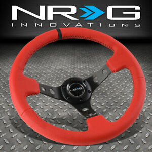 Nrg Reinforced 350mm 3 Deep Dish Steering Wheel Red Leather Black Center Stripe