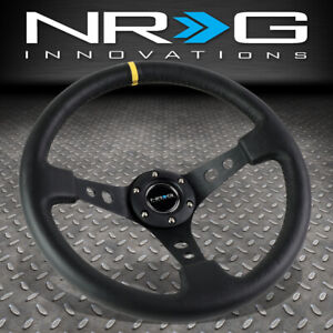 Nrg Reinforced 350mm 3 deep Dish Steering Wheel Black Leather W yellow Stripe