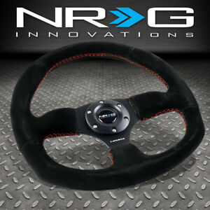 Nrg Reinforced 320mm Black Suede Red Stitch Flat Bottom D shape Steering Wheel