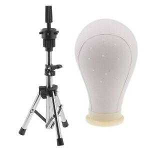 24 Canvas Block Head For Making Wigs Mannequin Head Model With Tripod Rack