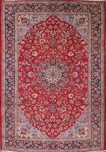 Excellent Vintage Floral Red 10x14 Najafabad Isfahan Persian Oriental Area Rug