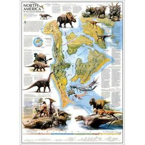 National Geographic Re00620073 Map Of Dinosaurs Of North America