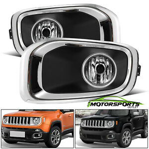 glass Lens 2015 2018 Jeep Renegade Oe Style Chrome Fog Lights 2016 2017 Pair