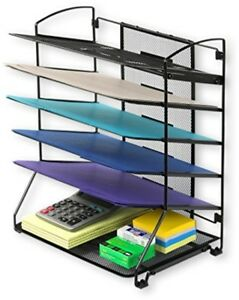 6 Trays Desktop Letter Tray Document Organizer Home Office Supplies Holder Black