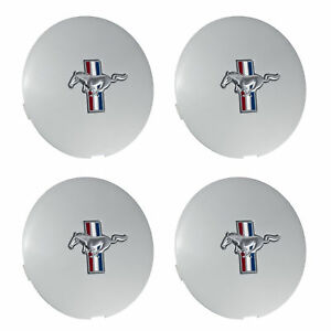 1991 1993 Mustang Wheel Center Caps Silver W Running Pony Set Of 4