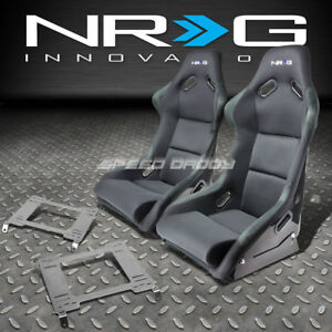 Nrg Fiberglass Bucket Racing Seats Stainless Steel Bracket For 98 02 Accord Cg